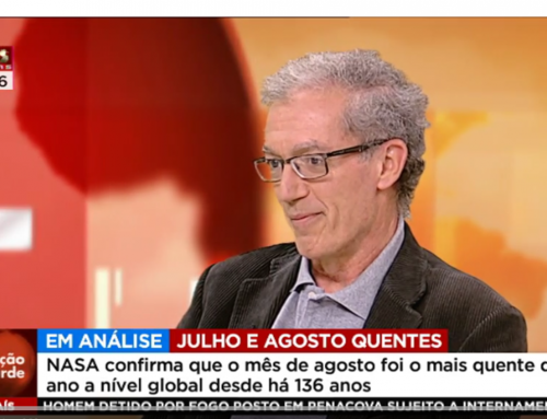 Pedro Miranda on the Portuguese T.V., commenting on the high temperatures of the last months